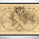 OLD WORLD MAP ANTIQUE 1742 - fine reproduction