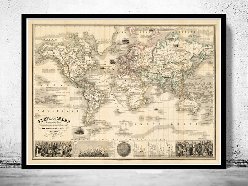MARVELLOUS WORLD MAP 1853 VINTAGE LOOK MERCATOR PROJECTION - fine reproduction