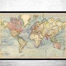 VINTAGE WORLD MAP 1883 MERCATOR PROJECTION - fine reproduction