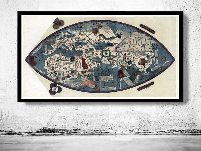 OLD GENOESE WORLD MAP EARTH ATLAS EUROPE ASIA AFRICA 1457 - fine reproduction