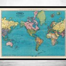 OLD WORLD MAP ATLAS VINTAGE WORLD MAP 1897 MERCATOR PROJECTION - fine reproduction