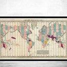Old World Map Atlas Time Zone Chart 1937 MERCATOR PROJECTION - fine reproduction