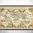 ANTIQUE WORLD MAP 1618 - fine reproduction