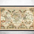 ANTIQUE WORLD MAP 1618 - fine reproduction