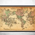 VINTAGE MAP OF THE WORLD 1876 MERCATOR PROJECTION - fine reproduction