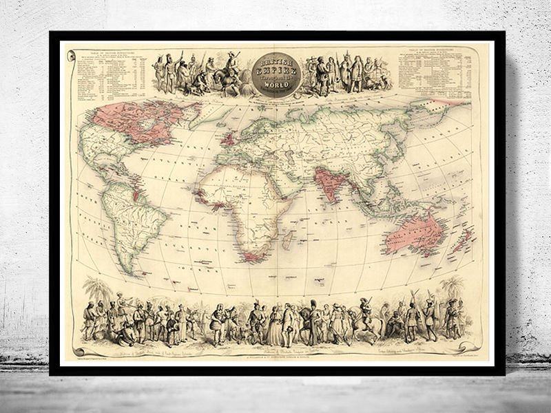 OLD WORLD MAP ANTIQUE ATLAS 1850 - fine reproduction