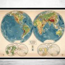 VINTAGE WORLD MAP IN EIGHT VIEWS 1944 - fine reproduction