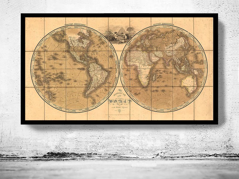 ANTIQUE WORLD MAP 1818 - fine reproduction