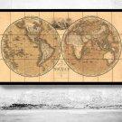 ANTIQUE WORLD MAP 1818 - fine reproduction