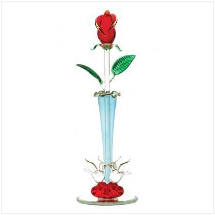 Spun Glass Rosebud Vase