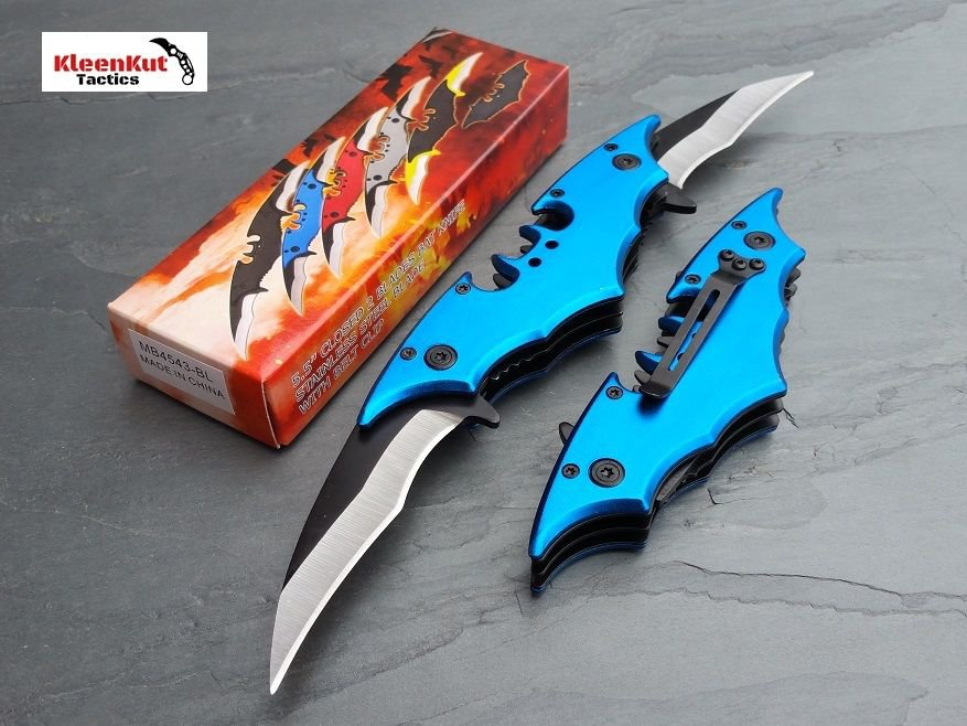 Batman Double Side Blade Spring Assisted Tactical Pocket Knife BLUE Bat Man Dark Knight
