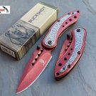 "8"" RED Spring Assisted Open TACTICAL DAMASCUS ETCHED Pocket Knife FOLDING BLADE"
