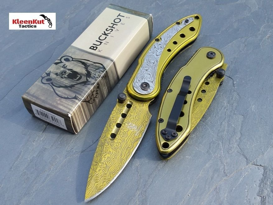 """8"""" GOLD Spring Assisted Open TACTICAL DAMASCUS ETCHED Pocket Knife FOLDING BLADE"""