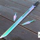 "28"" RAINBOW Blade NINJA SWORD Throwing Knife Katana Full Tang Machete Tactical"