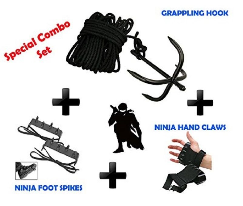NEW SET GRAPPLING Ninja Hook + Foot Spike + Hand Claw Forest Gear Outdoor Jungle