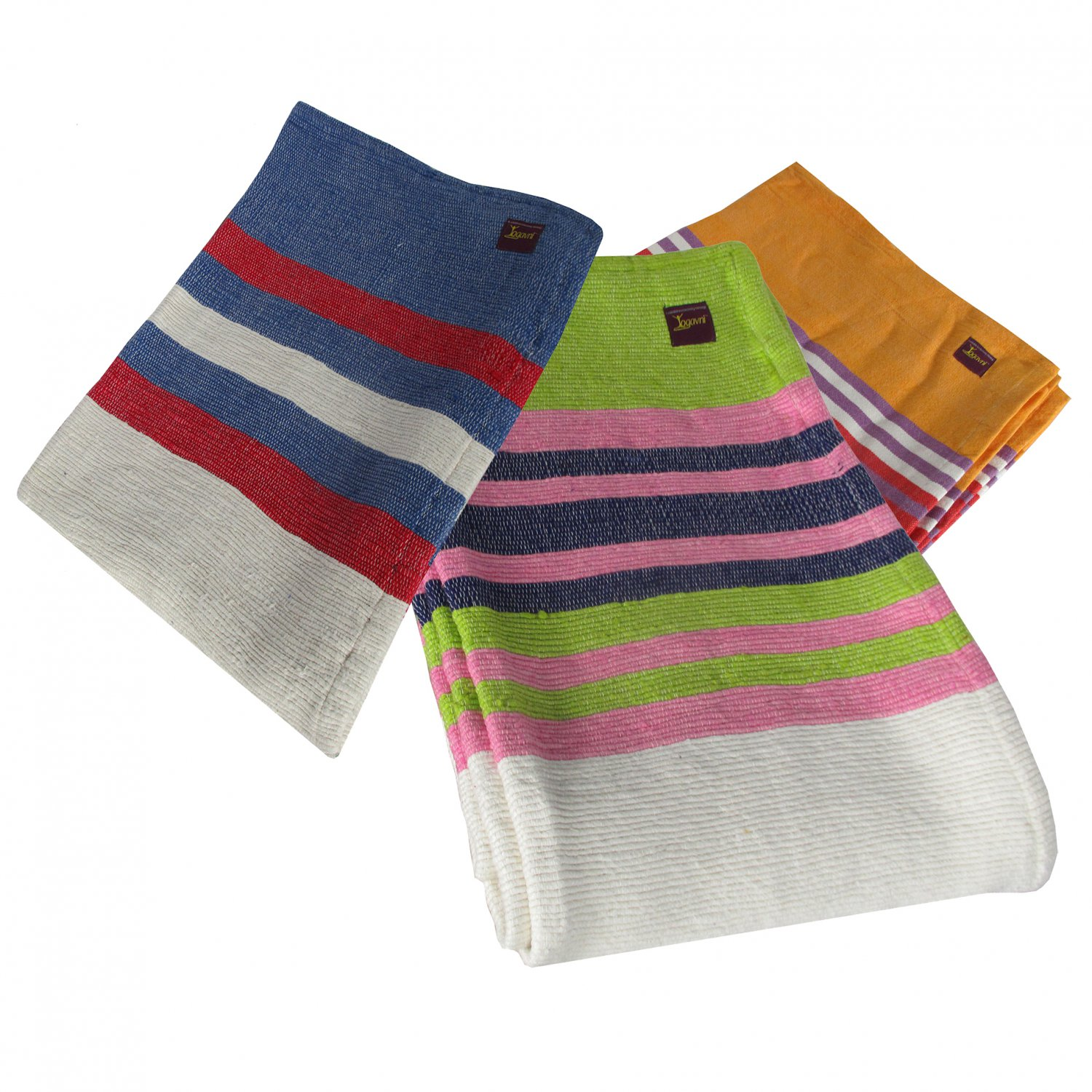 Light Weight Striped Soft and Pure Cotton Yoga Blanket - Available as Assorted Colors Only