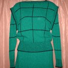 Sweater Set, Top & Skirt, Black/Green, Sz M