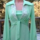 Vintage Gown, Green,spaghetti straps ,Bolero Jkt, sz 11