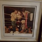 EVANDER HOLYFIELD FRAMED LITHOGRAPH MEASURING 38.7 X 26.7