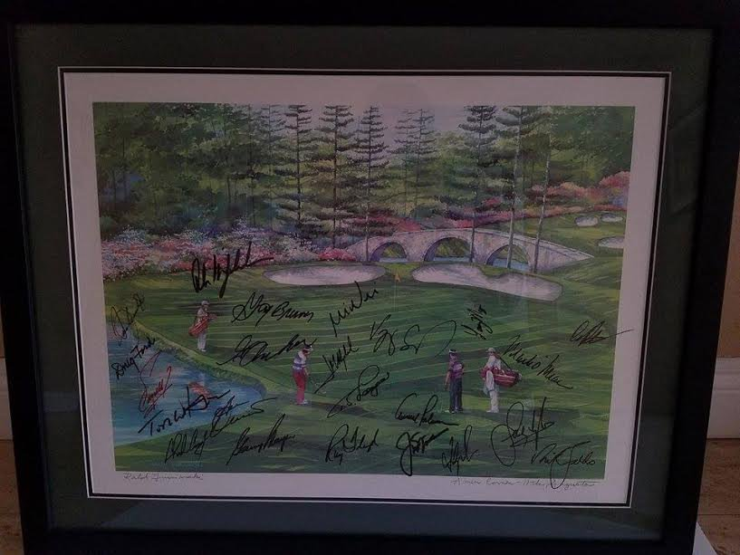 AMEN CORNER 11TH AT AUGUSTA SIGNED BY JACK NICKLAUS, ARNOLD PALMER AND MANY MORE MASTERS CHAMPIONS