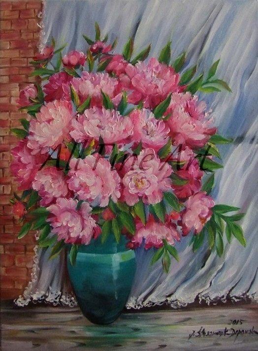 Peonies Original Oil Painting Pink Flowers Bouquet Blue Vase Curtain Wall Decor Impression Fine Art