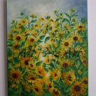 Sunflowers Original Oil Painting Field Flowers Garden Meadow Blossoms Landscape Fine Art