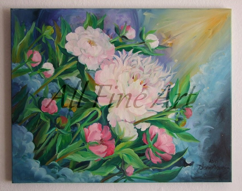Peonies Original Oil Painting Light Pink Garden Flowers Peony Decor Floral Fine Art
