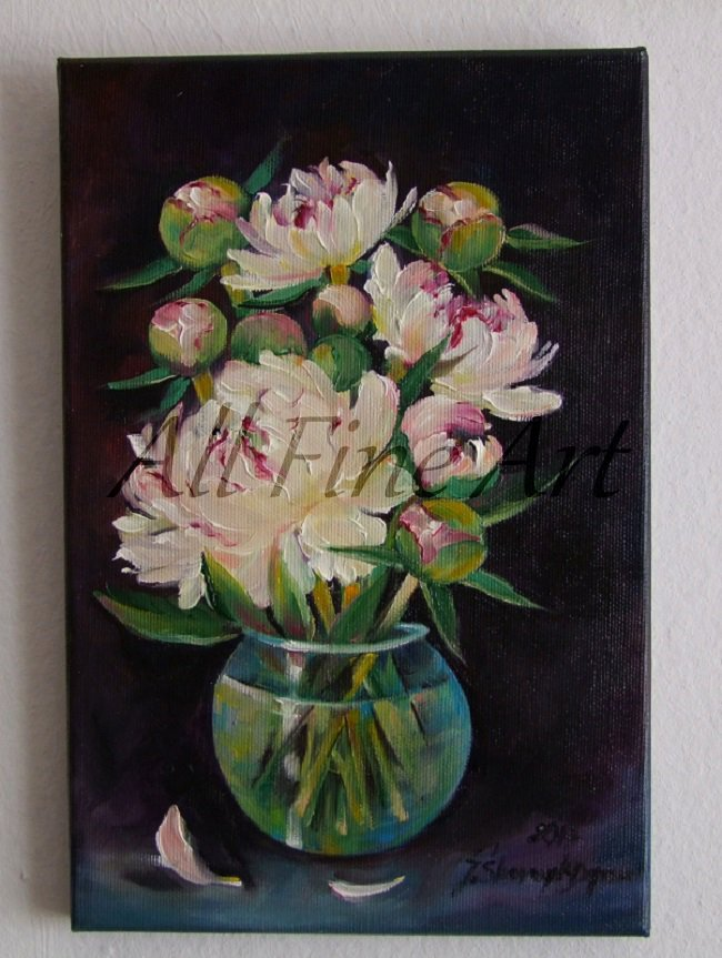 White Peonies Original Oil Painting Still Life Flowers Bouquet Glass Vase Floral Fine Art Pink Black
