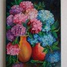 Hydrangea Hortensia Oil Painting Original Fine Art Pink Purple Blue Flowers 2 Bouquets Vases Realism