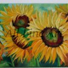 Sunflowers Original Oil Painting Floral Fine Art Field Flowers Garden Meadow Blossoms