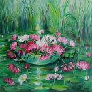 Water Lilies Original Oil Painting Pink Flowers Impression Nénuphar Ponds Floral Fine Art
