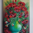 Original Oil Painting Flowers Impression Fine Still Life Red Poppies shabby chic Vase Europe Artist
