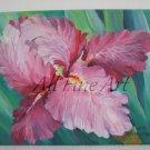Pink Iris Original Oil Painting Flower Fine Art Garden Impressionistic Still Life Blossom