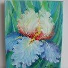 Blue Iris Original Oil Painting Garden Flower Still Life Impressionistic Floral Fine Art