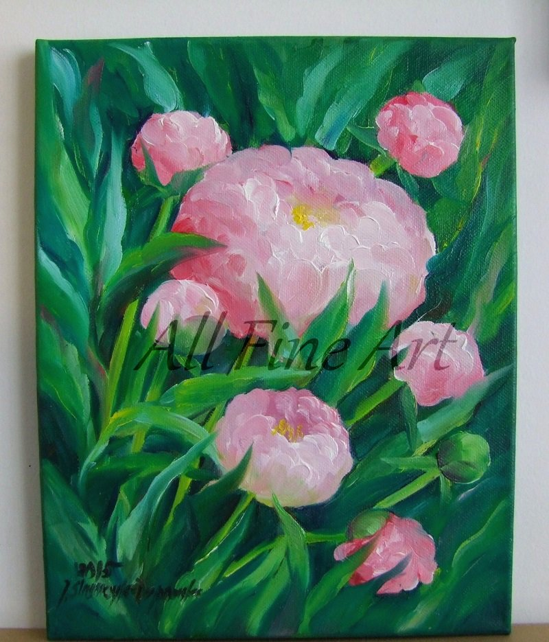 Pink Peonies Original Oil Painting Garden Flowers Still Life Peony Fine Art Impressionist Blossoms