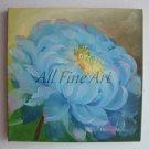 Blue Peony Original Oil Painting, Floral Fine Art, Gift for Her, Garden Flower, EU Artist, Canvas