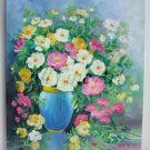 Still Life Original Oil Painting Wild Roses Fine Art Flowers Pink shabby chic Impression EU Artist