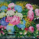 Hydrangeas Pink Peonies Original Oil Painting Still Life Hortensia Colorful Flowers Peony Fine Art