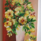 Yellow Flowers Original Oil Painting Still Life Wild Roses Bouquet Ceramic Vase Floral Fine Art
