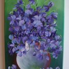 Violets Original Oil Painting Purple Wild Flowers Still Life Bouquet Fine Art Ceramic Vase EU Art