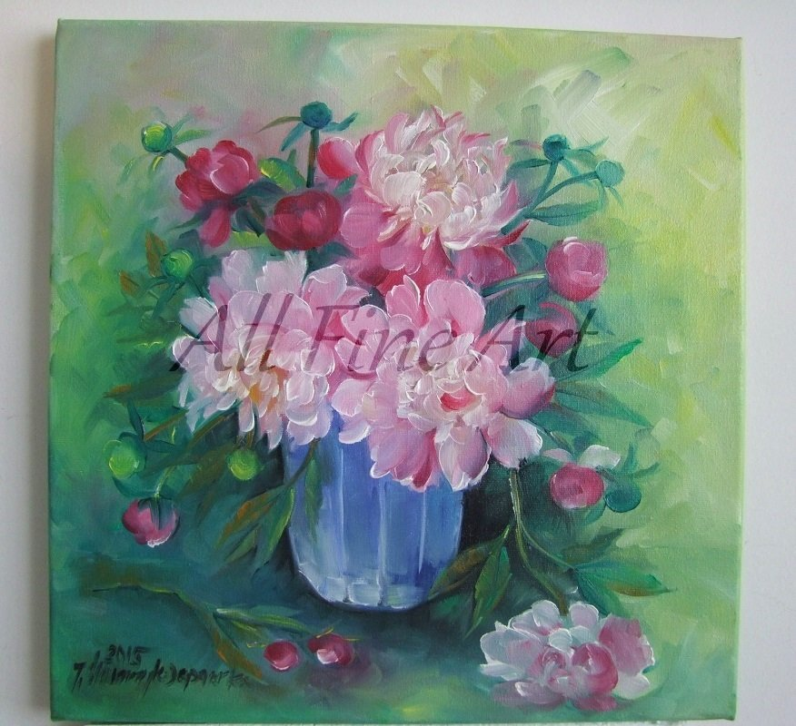 Peonies Original Oil Painting Pink Bouquet Still life Flowers Fine Art Impression Blue Glass Vase