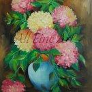 Colorful Hydrangea Hortensia Oil Painting Original Fine Art Pink Yellow Flowers Bouquet Blue Vase