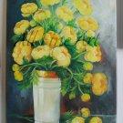 Yellow Globeflowers Original Oil Painting Still Life Trollius Bouquet Floral Fine Art globe flower