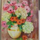 Pink Orange Flowers Original Oil Painting Hydrangea Still Life Bouquet Asters Vase Floral Fine Art