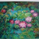 Pink Water Lilies Original Oil Painting Landscape Flowers Nénuphar Ponds Floral Fine Art