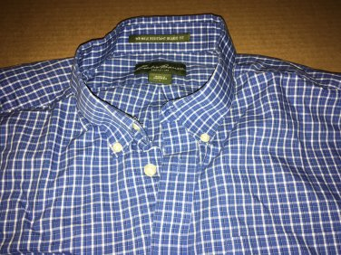 Eddie Bauer Casual Button Up Plaid Collar Shirt Size Large Relaxed Fit