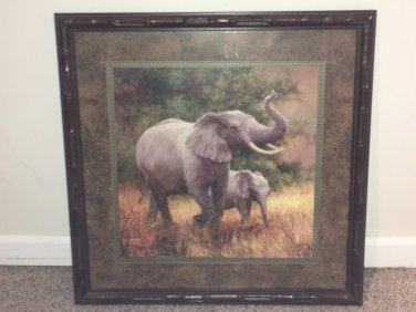 Home Interiors Laurie Snow Hein Beautiful Elephant Fam Pic With Frame 22 x 22