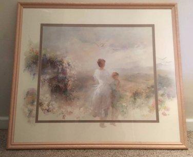 Willem Haenraets Original Art Lithograph Pic With Frame Mother & Child Landscape