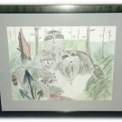 Meagan Schebe Original Watercolor Painting Raccoon Turtle Custom Framed 22 X 18