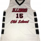 Vintage Illinois Basketball Embroidered Old School Jersey 15 Black Red White Size L